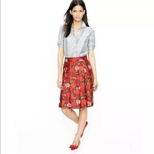NWOT - JCrew - 100% Silk Pleat Skirt - Floral